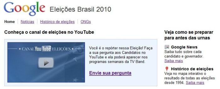 Google cria canal especial para as eleições 2010 do Brasil 17248
