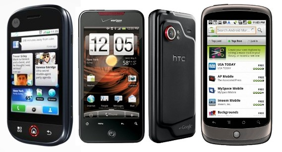 Motorola Dext, HTC Droid Incredible e Nexus One.