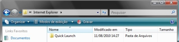 Procure o Menu Quick Launch com o Windows Explorer.