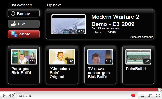 Nova tela final de um vídeo no Youtube