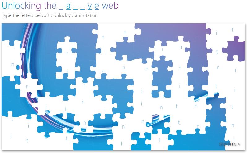 Quebra-cabeças da Microsoft para o convite do lançamento do IE9