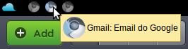 Serviços do Google como ícones do Chromium na barra superior do Jolicloud