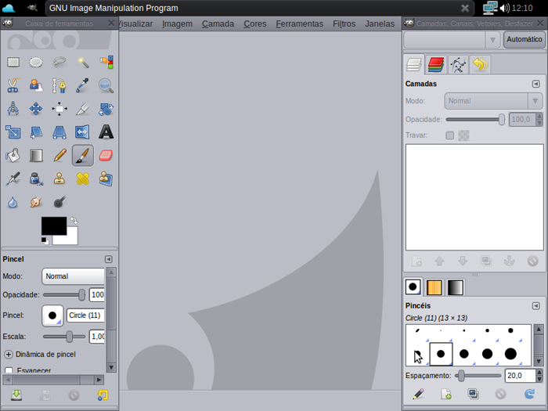 Mesmo rodando bem, o GIMP é prejudicado pela dimensão da tela