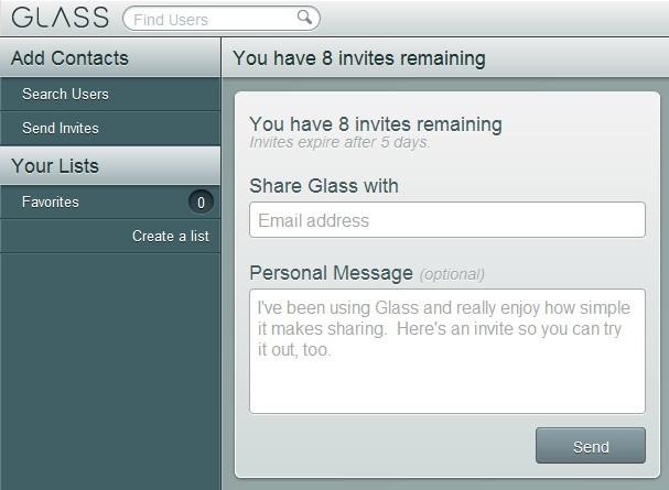 Convide até 10 amigos para o Glass