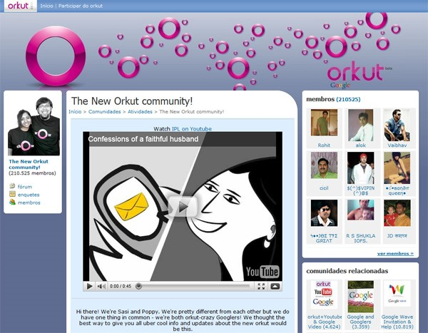 Novo visual das comunidades do Orkut