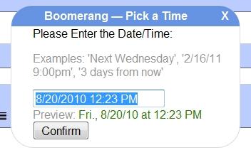 Programe dia e hora para entregar o email.