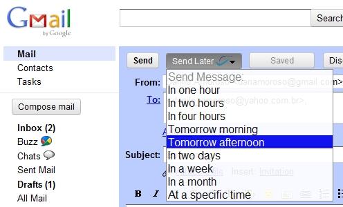Novas possibilidades de envio de email.
