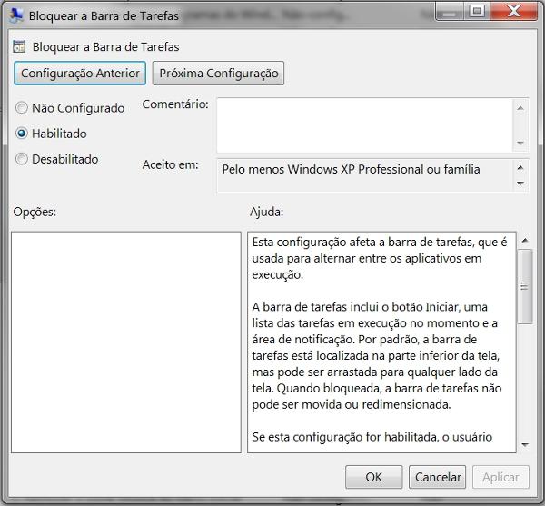 Opções sobre o bloqueio da Barra de tarefas do Windows