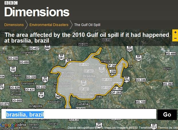Brasília é apenas um pontinho sob a área atingida pelo vazamento de óleo no Golfo do México.