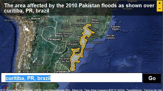 A área atingida pelas enchentes no Paquistão tendo Curitiba, no Paraná, como centro.