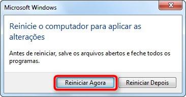 Reinicie o computador.