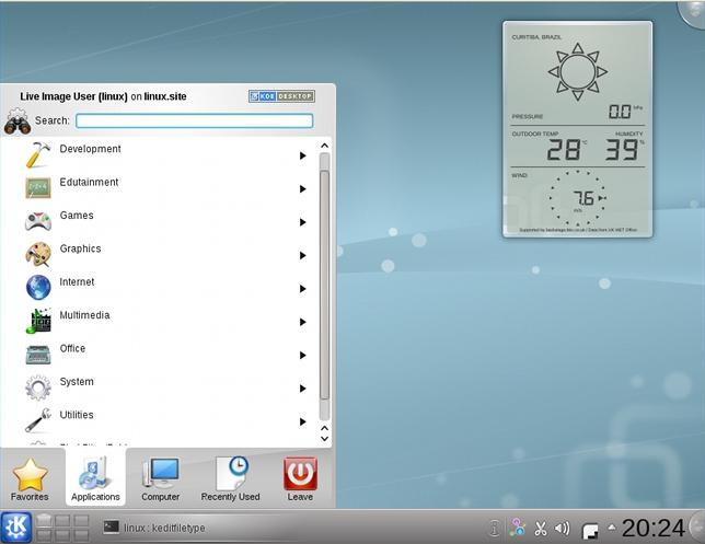 KDE Four Live sendo executado com o VirtualBox