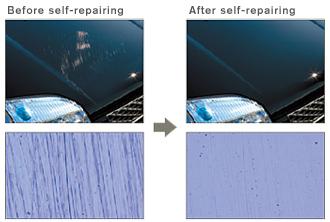 Exemplo da recuperação da pintura com o Scratch Guard Coat.