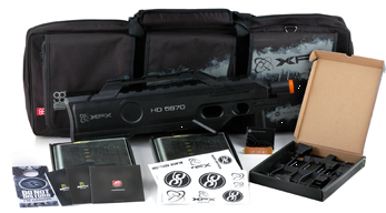 LAN bag e o invólucro no formato de rifle P-90