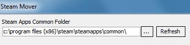 Insira o endereço da pasta no campo do Steam Mover para o drive C:.