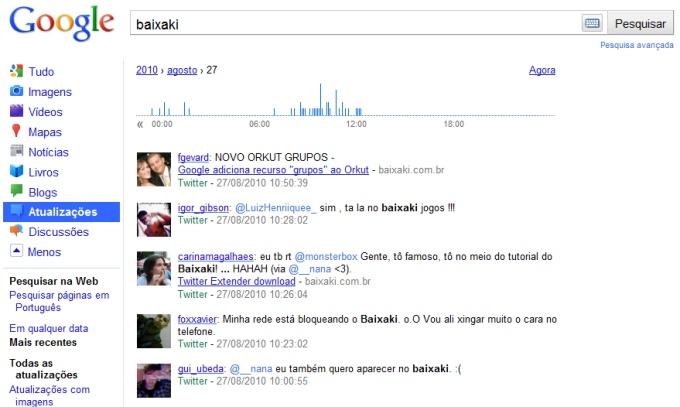 Baixaki no Google em tempo real.
