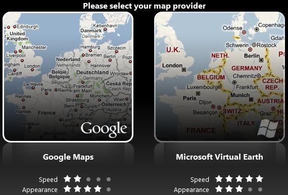 Escolha um dos sistemas de mapas.