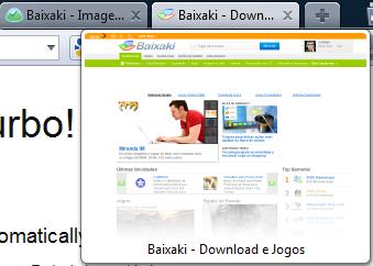 Miniatura da página carregada em uma facilita a navegação por vários sites