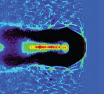 Imagem da simulação de aceleração Laser-Plasma.