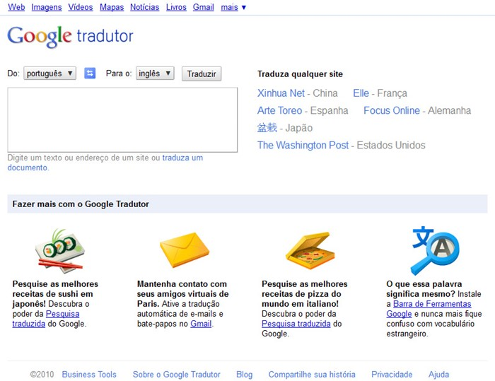 Nova interface do Tradutor Google