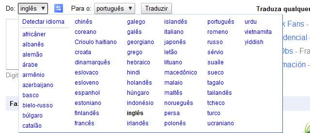 Idiomas suportados pelo tradutor