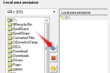 Clique na seta azul para adiciona a pasta à lista de buscas.