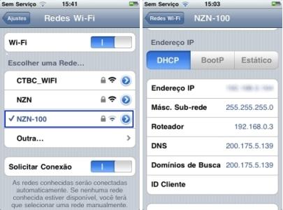Telas de configuração de rede