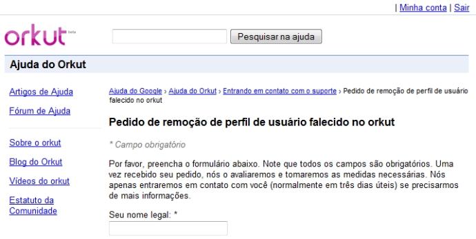 O formulário para exclusão de um perfil do Orkut.