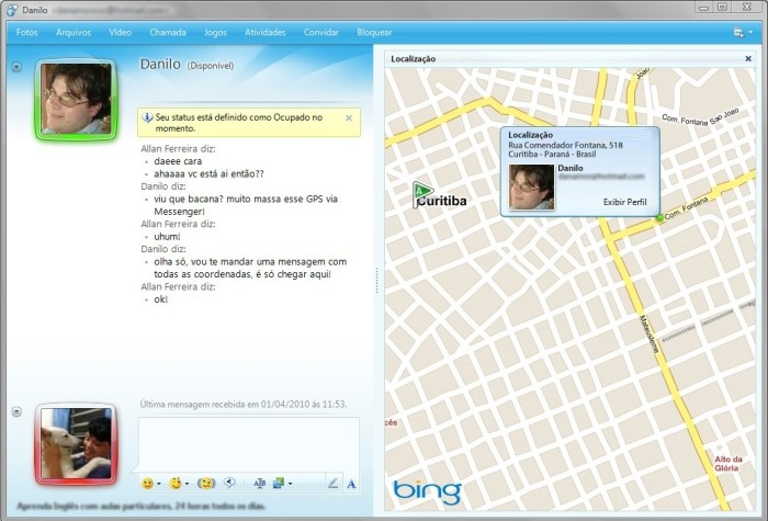 Geotagging no Messenger, pode acreditar!