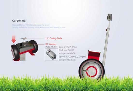 O carrinho se transforma facilmente em um cortador de grama.