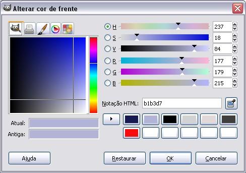 Alteração de cores.