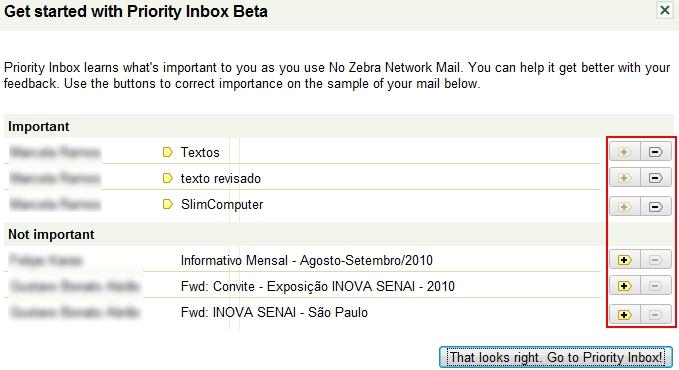Configuração inicial das mensagens em sua caixa de entrada.