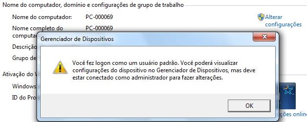 Mensagem de alerta: o usuário não tem privilégios de administrador.