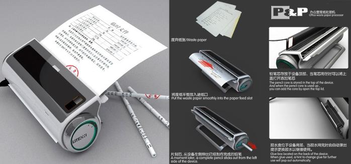 Máquina transforma o papel em lápis.