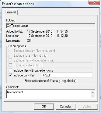 Folder Cleaner - Filtros
