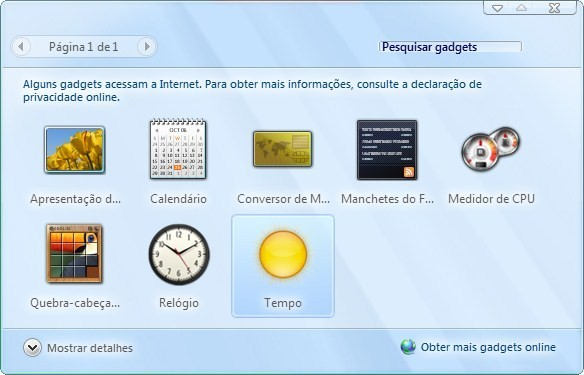 Galeria com os widgets do Windows 7