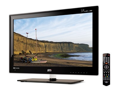 Novas televisões ultra finas com a marca STI.