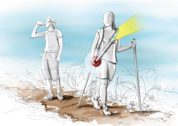 A alça serve como recarregador solar