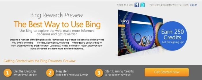 Site do Bing Rewards
