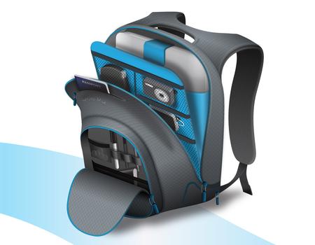 O estofamento do gadget garantem a integridade dos dispositivos transportados.