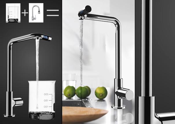 Torneira futurista evita o desperdício de água.