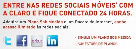 Promoção da Claro incentiva acesso às redes sociais