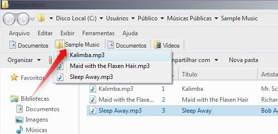 Execute arquivos diretamente a partir da aba