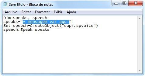 Copie este código no Bloco de Notas.
