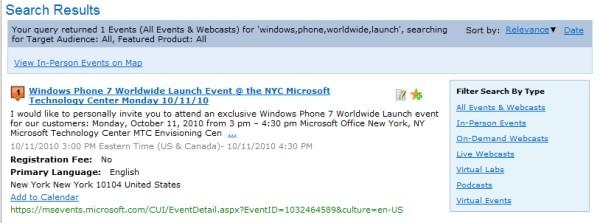 Lista de eventos da Microsoft confirma o dia de lançamento do Windows Phone 7