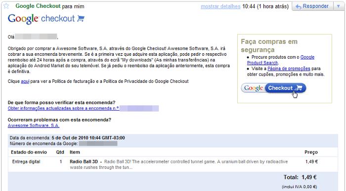 Email com a confirmação da compra do aplicativo.