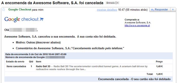 Email avisando do cancelamento da compra.