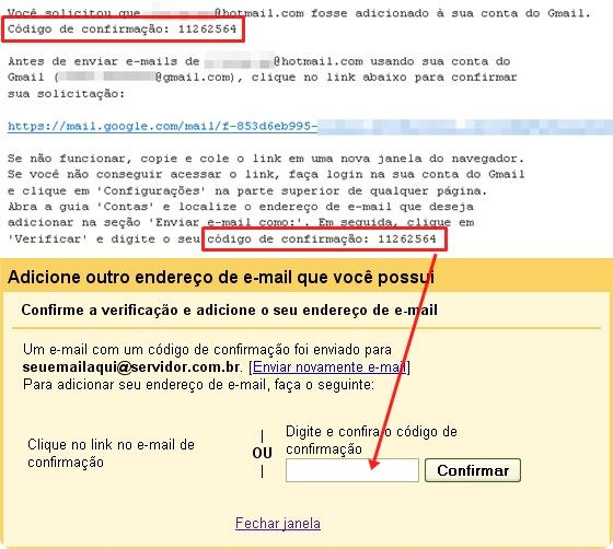 Copie e cole o código de confirmação no campo indicado