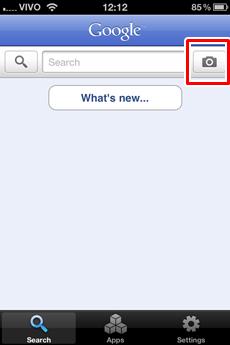 Toque neste botão para acessar o Google Goggles.