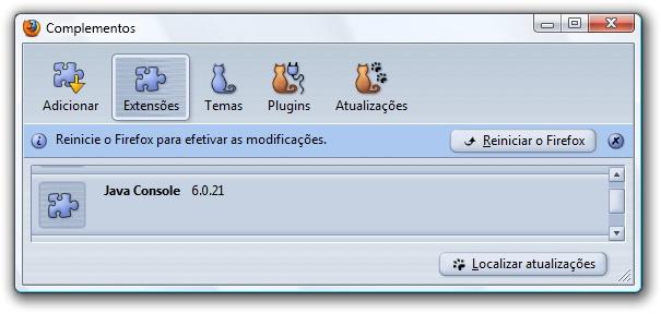 Firefox solicitando reinicialização